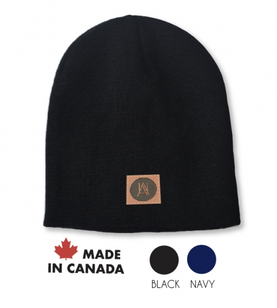 Made in Canada Rib-knit winter beanie with debossed patch