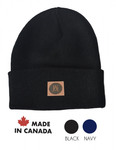 Made in Canada Rib-knit winter cuff beanie with debossed patch