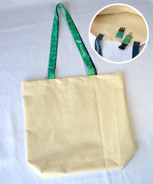 Made in Canada Cotton Canvas Tote with Sublimated handles & key holder buckle