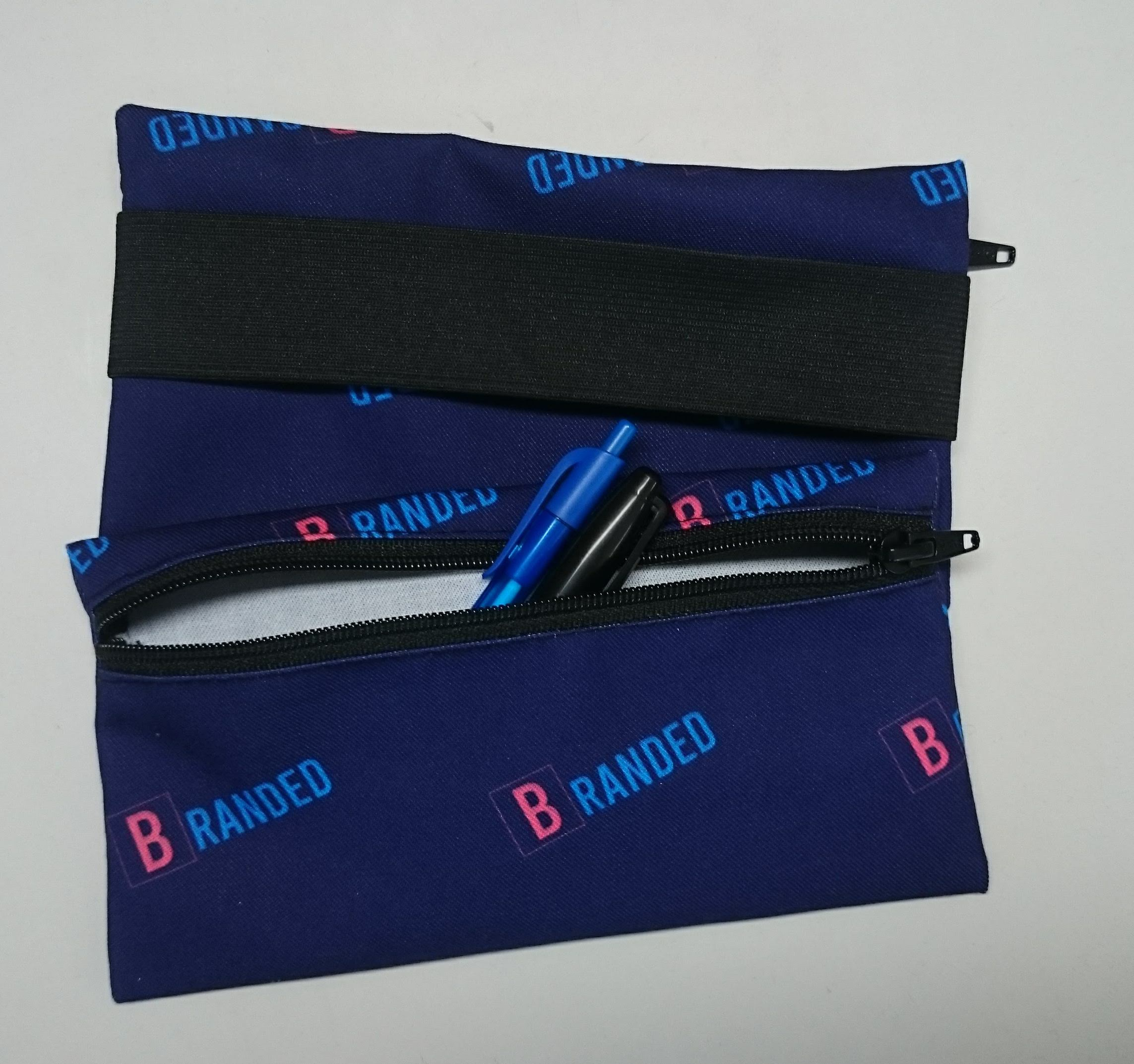 "Sublimated 8 1/4"" x 4"" zippered pencil case with elastic"