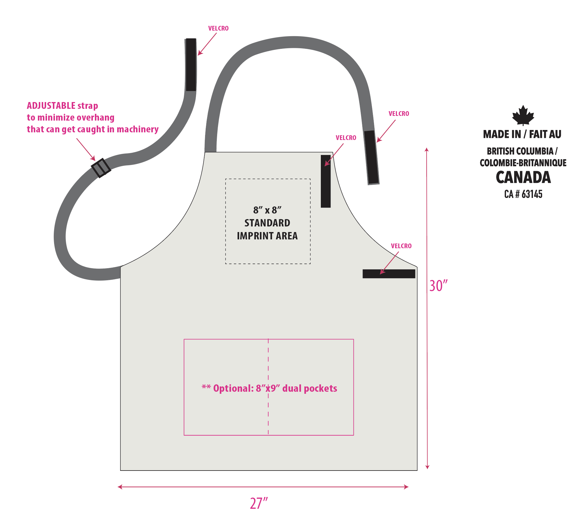 Cotton Canvas Bib  Apron with safety release straps