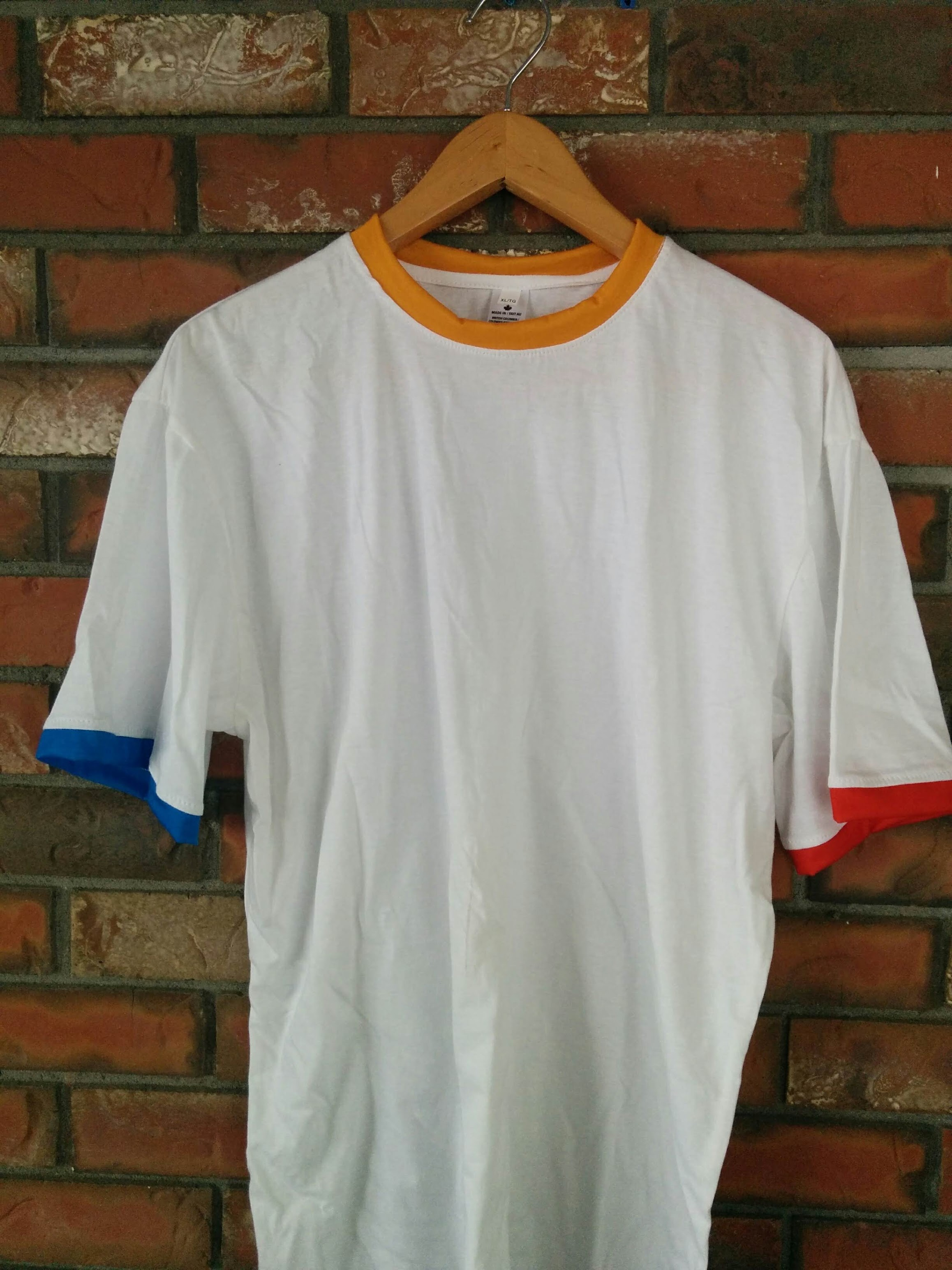 Ringer T-shirt with custom color collar and cuffs