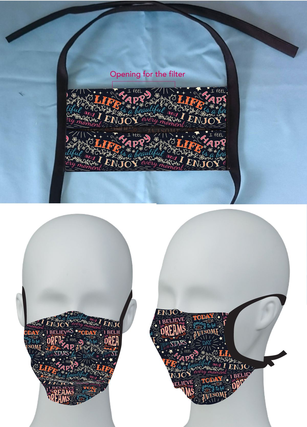 Non-medical Sublimated 2 layer Face Mask