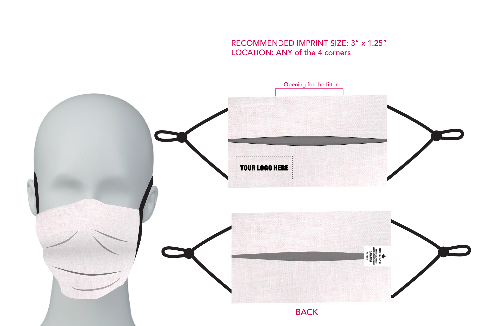 Non-medical 2 layer Hemp Face Mask with Adjustable elastic ear loops